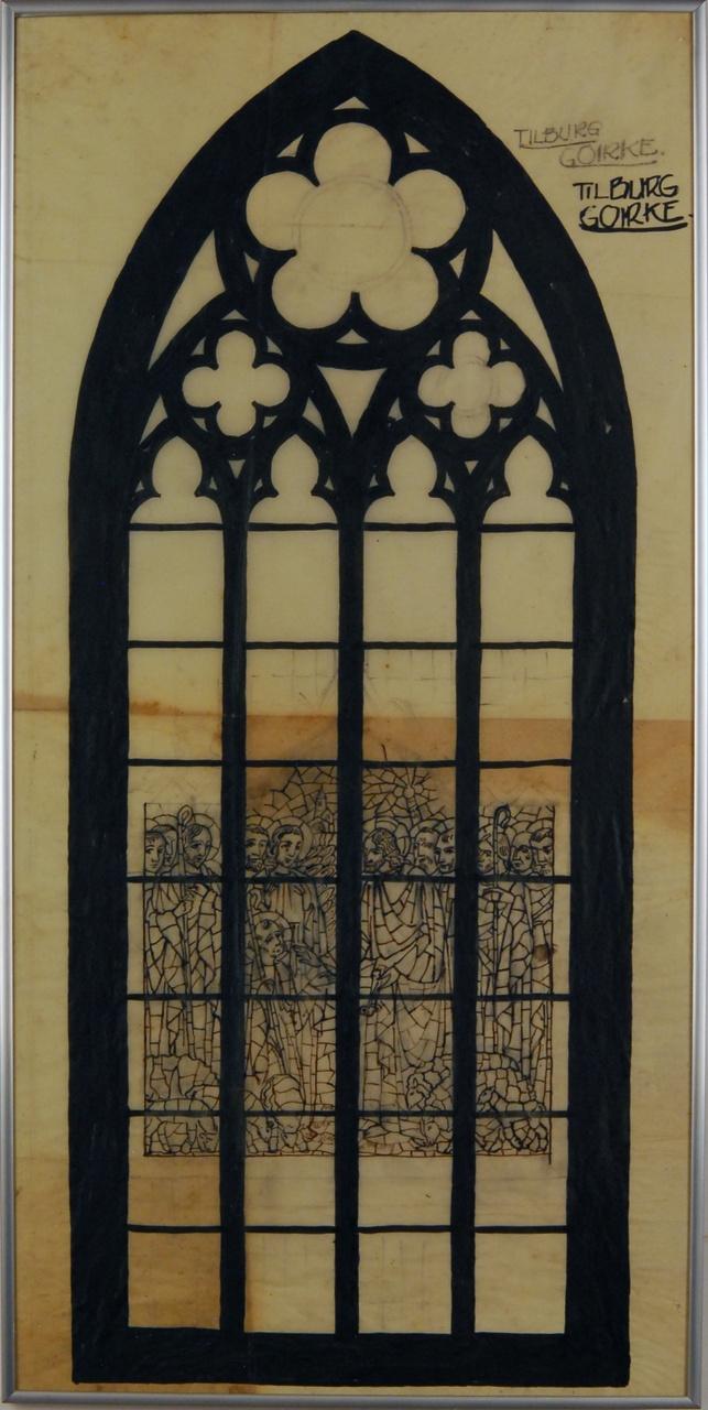 Ontwerptekening voor een glas-in-lood raam te Tilburg - Goirle