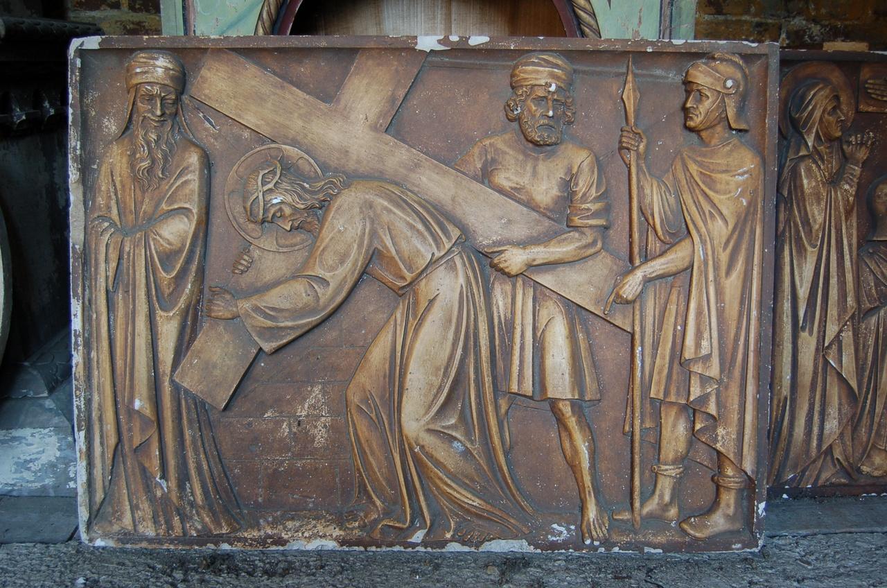 Kruiswegstatie: Jezus draagt zijn kruis