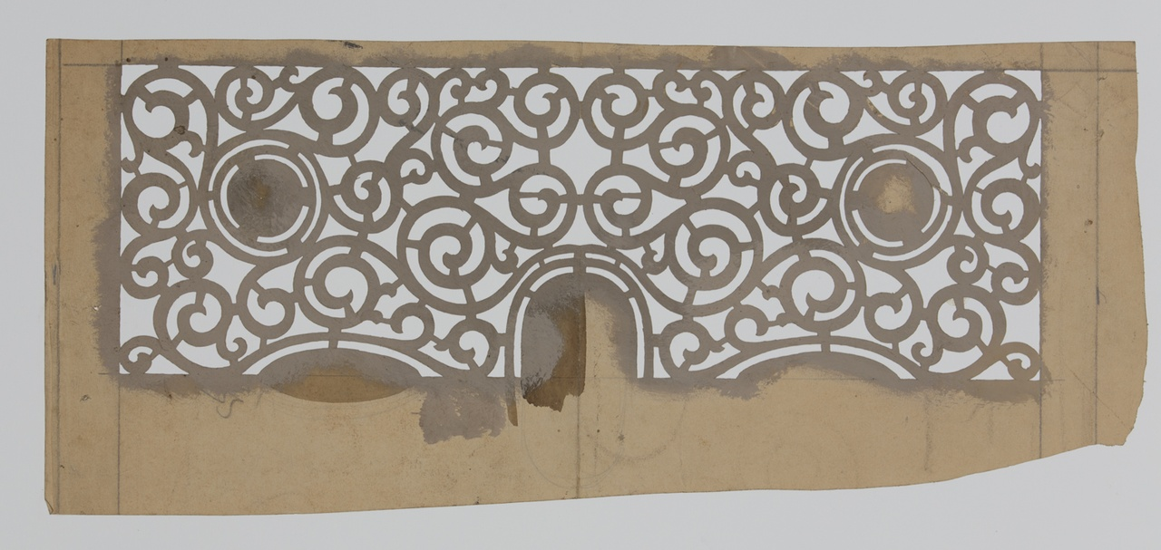 Sjabloon met een rechthoekig, symmetrisch patroon met krullen, cirkels en ovalen