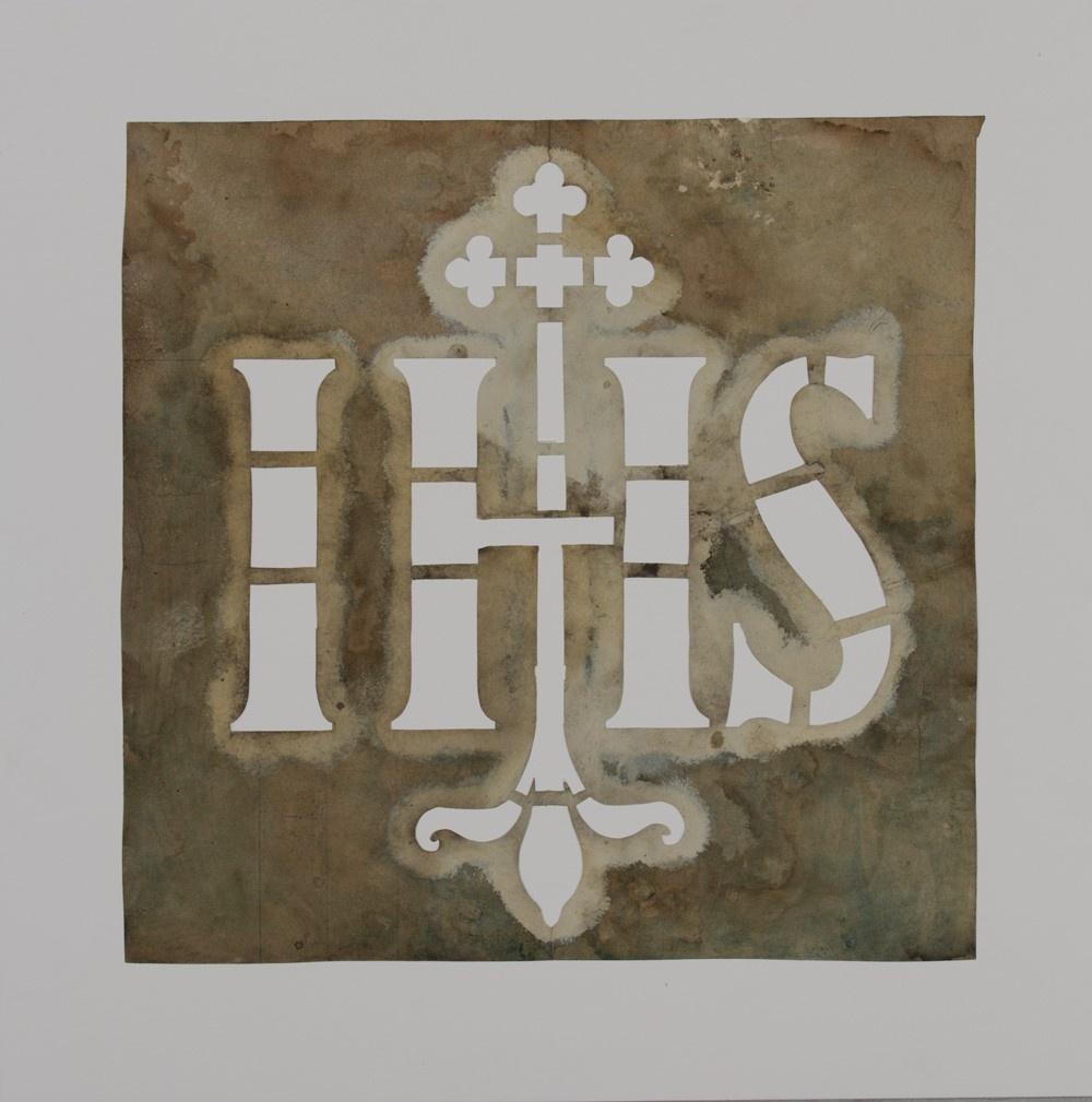 Vierkant sjabloon met de letters I H S