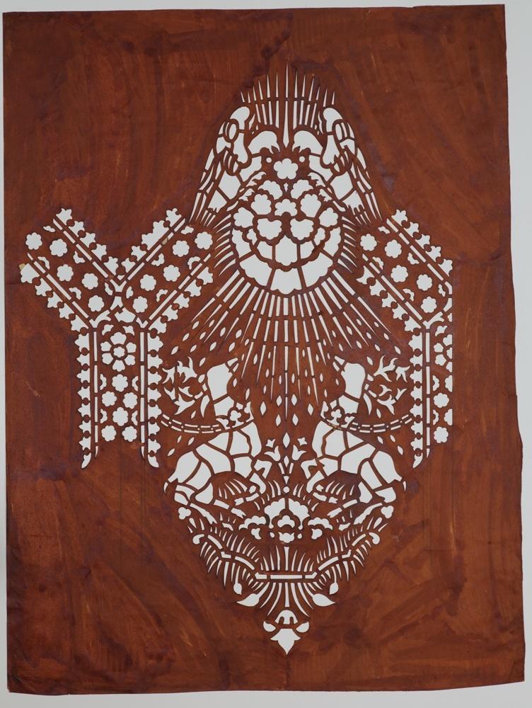 Sjabloon voor repeterend motief met twee herten en twee duiven in een stralenkrans