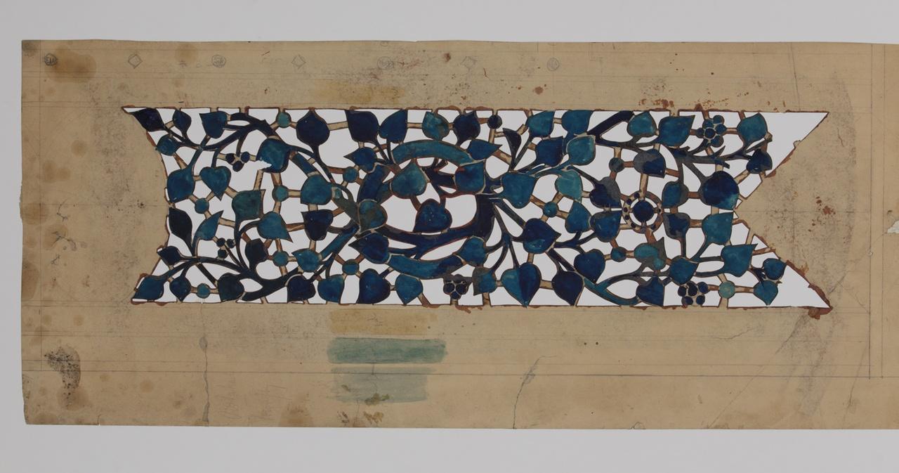 Sjabloon in de vorm van een vaan waar binnen blad- en rankmotieven.