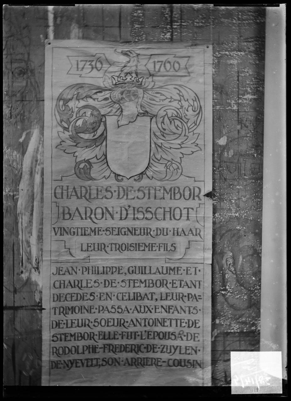 """Glasnegatief van foto van producten uit de Cuypers' Kunstwerkplaatsen: """"Pagina uit de stamboom van de familie van Zuylen de Nyevelt""""."""