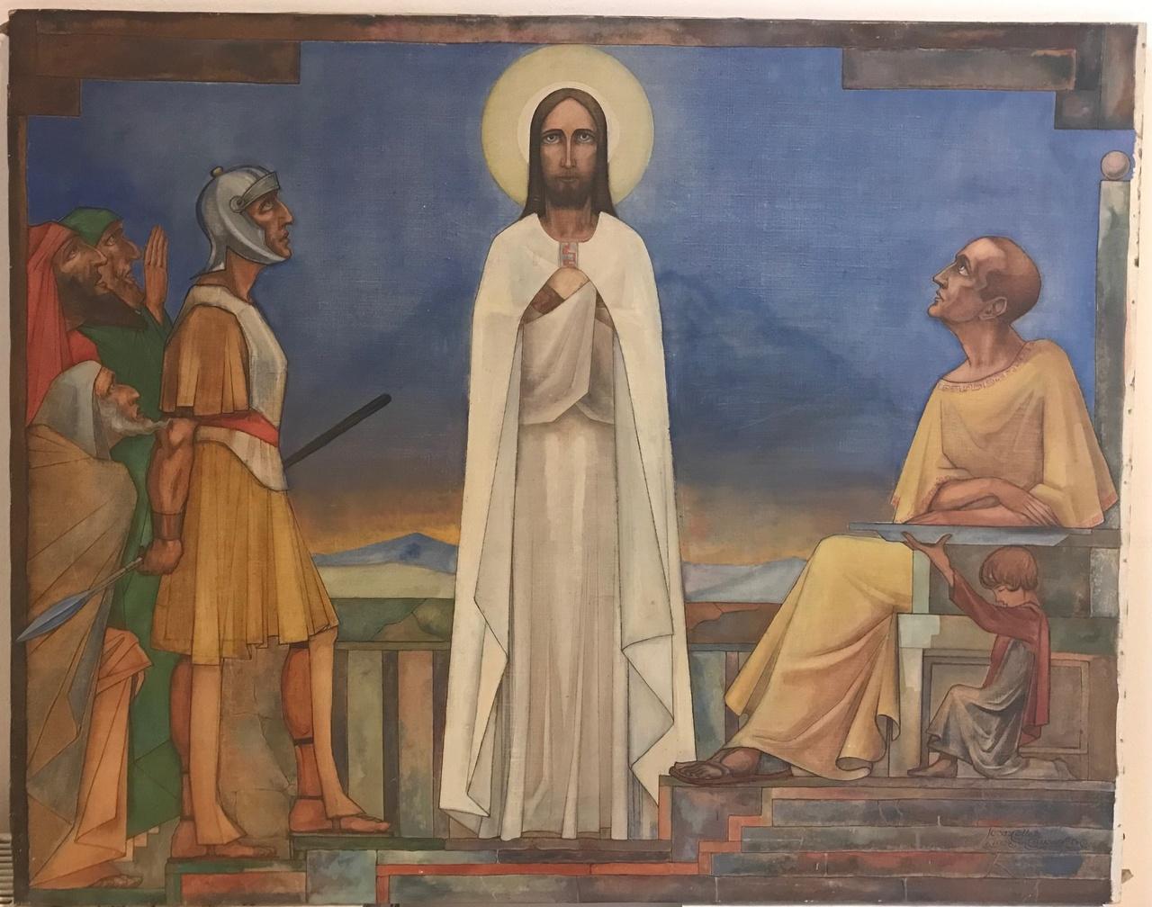 Schilderij van een kruiswegstatie
