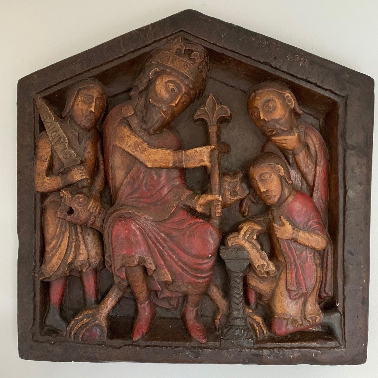 """Afgietsel van het reliëf """"Eed op de relieken"""" van een origineel in de Onze-Lieve-Vrouwekerk Maastricht + boekje"""