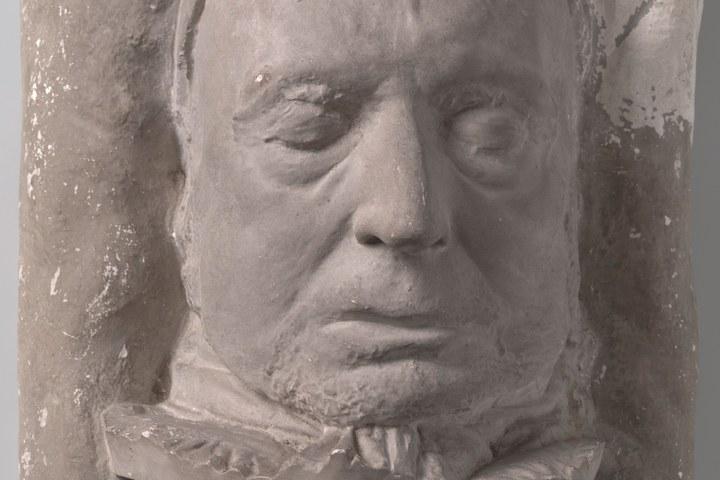 Dodenmasker in gips van Willem Bilderdijk.